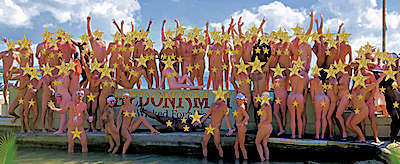 Group photos at the Hedonism II wall by the water sports.