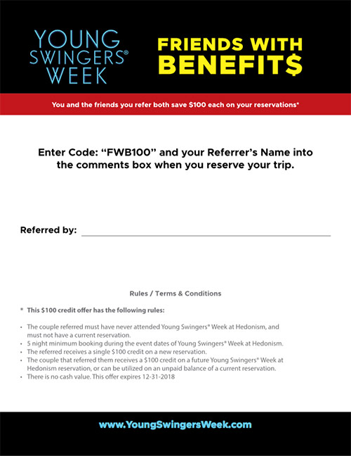 Preview of Young Swingers Week Friends with Benefits Referral Sheet